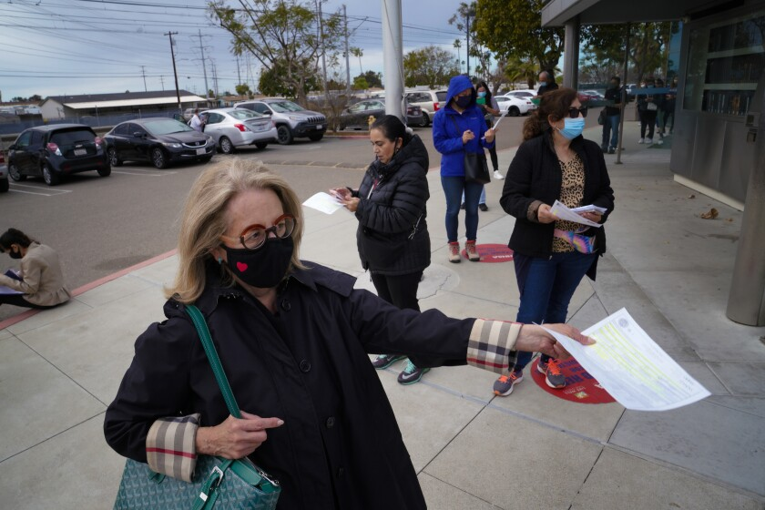 San Diegans lined up for a COVID-19 vaccine.