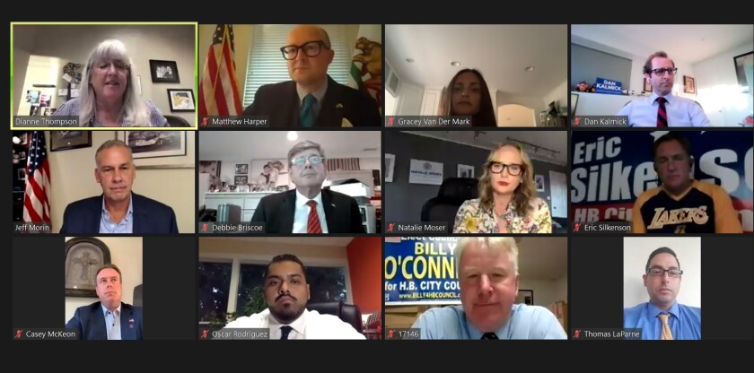 Huntington Beach City Council candidates participate in an online forum Thursday night.