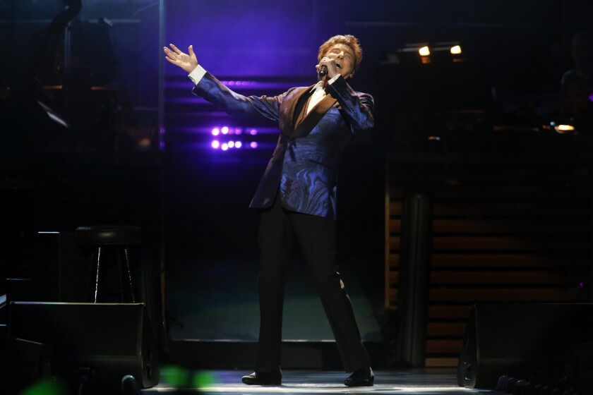 Barry Manilow performs Tuesday night at Staples Center in Los Angeles.