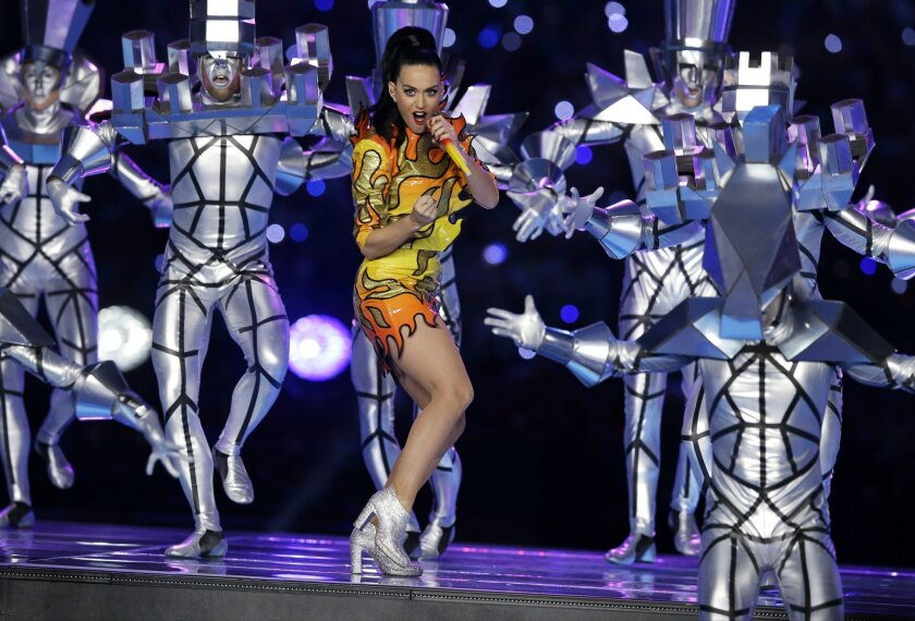 Singer Katy Perry performs during halftime of NFL Super Bowl XLIX football game between the Seattle Seahawks and the New England Patriots Sunday, Feb. 1, 2015, in Glendale, Ariz. (AP Photo/Michael Conroy)