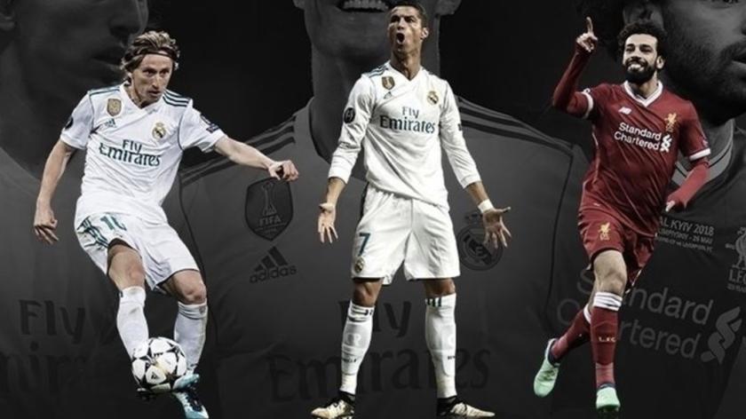 Los candidatos al premio: el croata Luka Modric (Real Madrid), el portugués Cristiano Ronaldo (Juventus) y el egipcio Mohamed Salah (Liverpool).