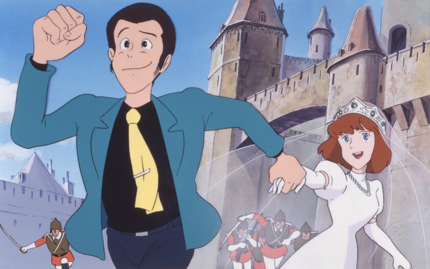 A animated man running and pulling a young woman after him by hand while being chased