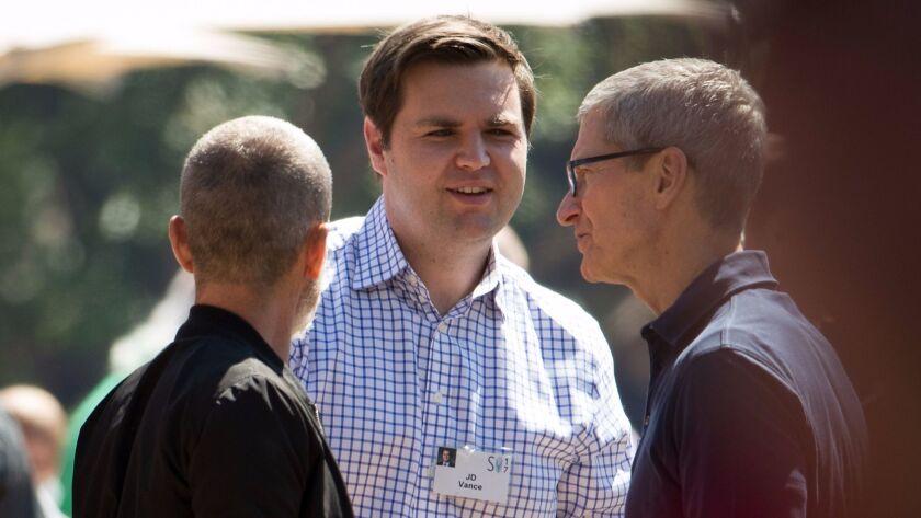 J.D. Vance meets Apple's Tim Cook in Sun Valley in July.