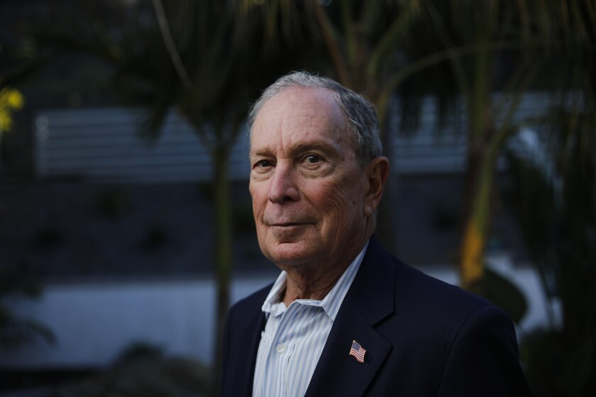 Democratic presidential candidate Mike Bloomberg poses for a portrait at a home in San Diego on Sunday, Jan. 5, 2020.