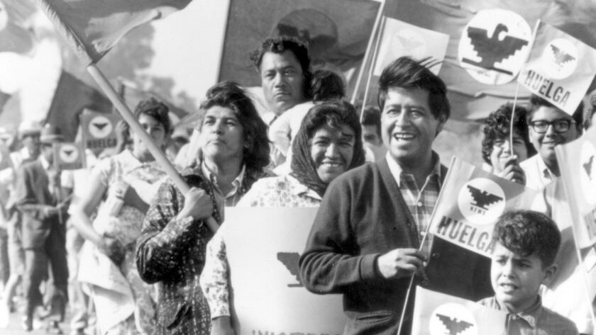 César Chávez with striking farm workers in 1966.