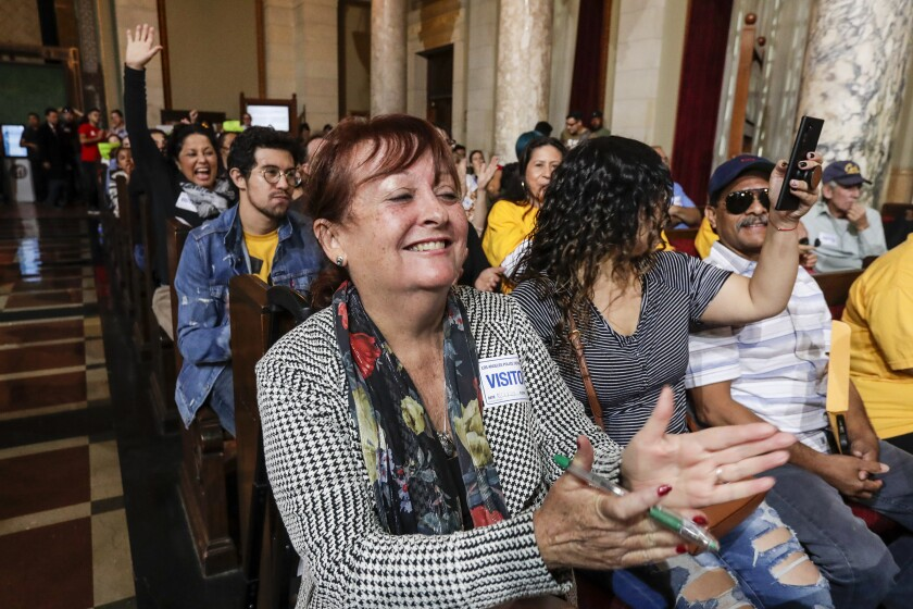 Column: At L.A. City Hall, victory went to the little guy in battle over rents and evictions