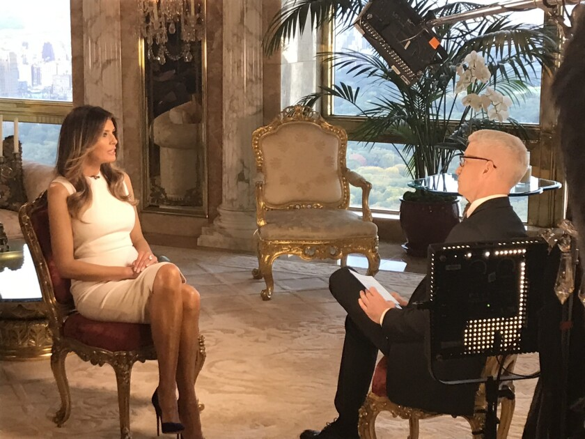 Melania Trump talks to Anderson Cooper in an interview that aired Monday on CNN.