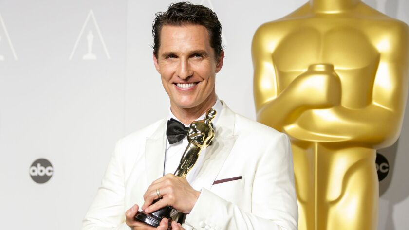 Matthew McConaughey, in Dolce & Gabbana at the 2014 Academy Awards, is the only lead actor winner in two decades who attended the Oscars in a white tuxedo jacket.