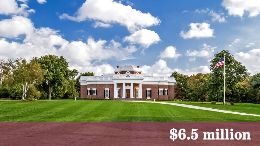 A replica of Thomas Jefferson's Virginia estate, Monticello, has come on the market in Somers, Conn., at $6.5 million.