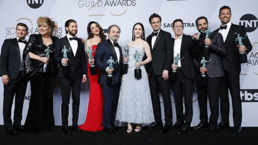 """""""The Marvelous Mrs. Maisel"""" cast backstage at the 25th Screen Actors Guild Awards at the Shrine Auditorium and Expo Hall in Los Angeles on Sunday, Jan. 27, 2019."""