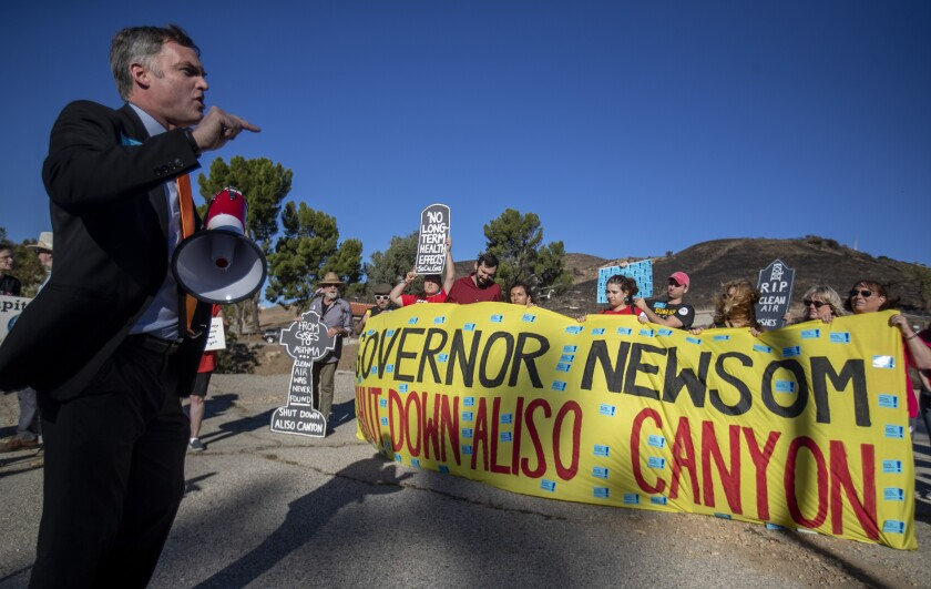An Oct. 23, 2019, rally in L.A.'s Porter Ranch neighborhood marks the fourth anniversary of the Aliso Canyon methane blowout.