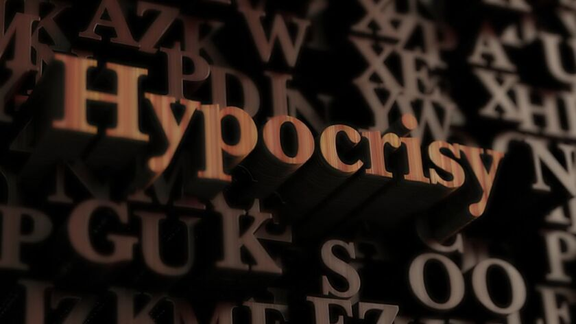 Hypocrisy - Wooden 3d rendered letters/message