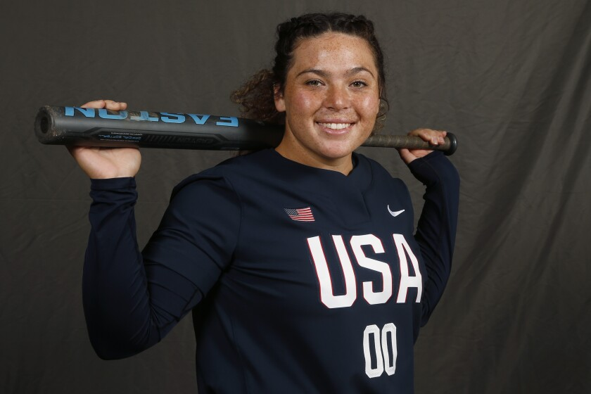 FILE - In this Oct. 7, 2019, file photo, pitcher Rachel Garcia poses for a photo during media day at the USA Softball Women's Olympic Team Selection Trials in Oklahoma City. United States Olympian Garcia highlights the 12 players chosen in Athletes Unlimited's first softball draft. (AP Photo/Sue Ogrocki, File)