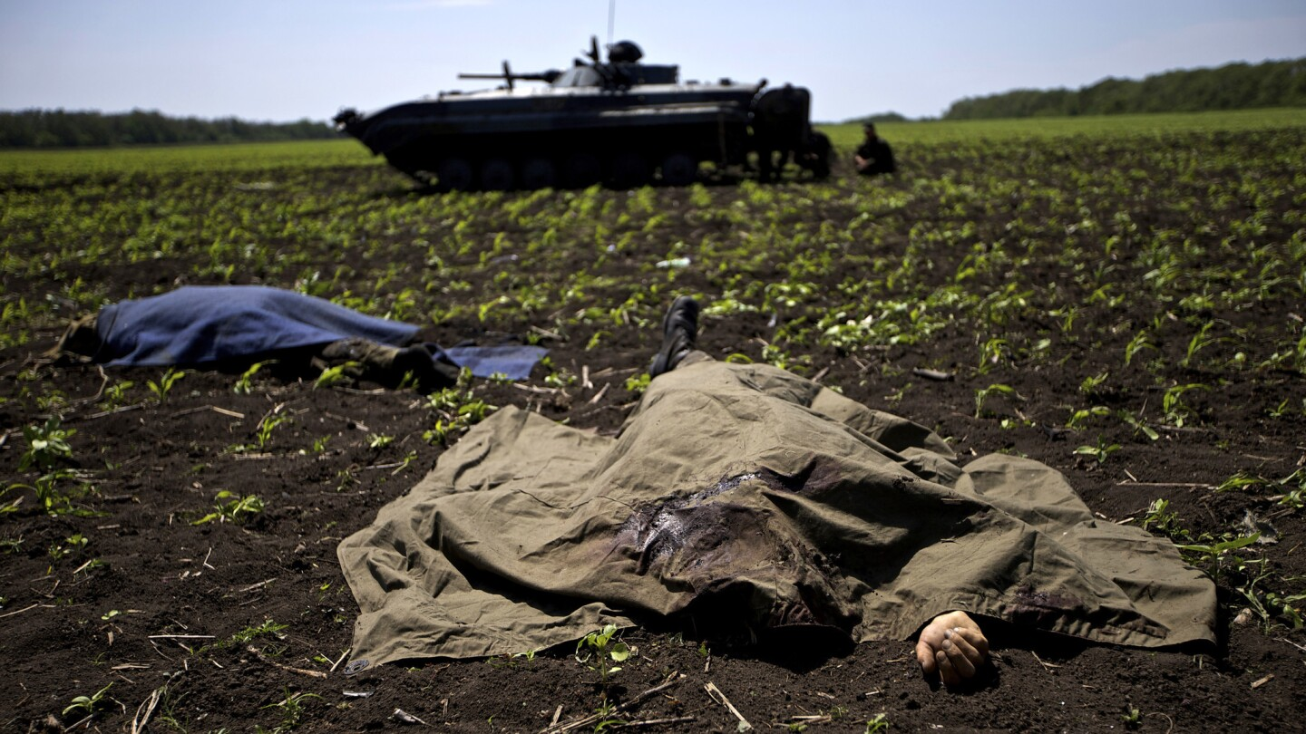 Bodies covered with blankets lie in a field near the village of Blahodatne in eastern Ukraine after a clash between Ukrainian troops and pro-Russian separatists.