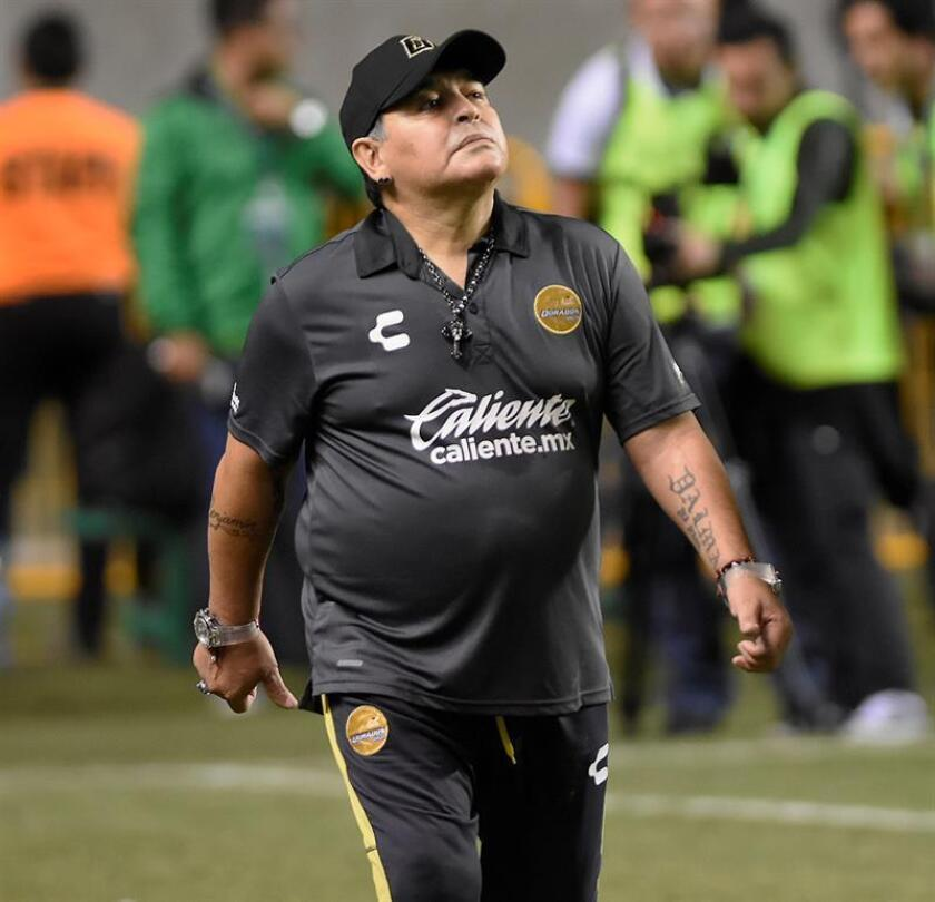 El argentino Diego Armando Maradona, entrenador de los Dorados de Sinaloa del Ascenso del fútbol mexicano. EFE/Archivo