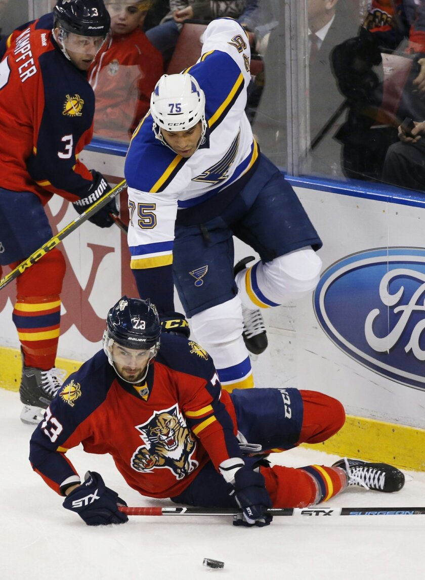 Florida Panthers center Brandon Pirri (73) and St. Louis Blues right wing Ryan Reaves (75) battle for the puck during the first period of an NHL hockey game, Friday, Feb. 12, 2016, in Sunrise, Fla. The Blues defeated the Panthers 5-3. (AP Photo/Wilfredo Lee)