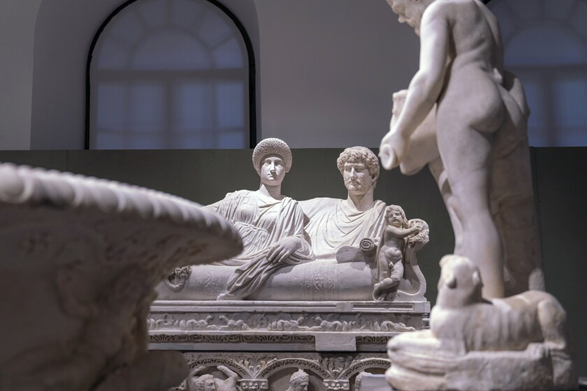 In this undated photo made available Monday, Oct. 12, 2020, ancient Greek and Roman marble statues are seen prior to going on display in the newly refurbished Villa Caffarelli, one of the Capitoline Museum's exhibition spaces overlooking the ancient Roman Forum, in Rome. One of the most important private collections of ancient Greek and Roman marble sculptures is going on display Monday as part of the Eternal City's 150th anniversary celebrations. (Fondazione Torlonia via AP)