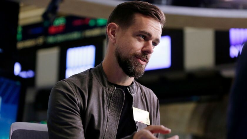 FILE - In this Thursday, Nov. 19, 2015, file photo, Twitter CEO Jack Dorsey is interviewed on the fl