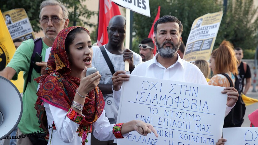 Protesters at rally against Islamophobia in Athens, Greece in August.