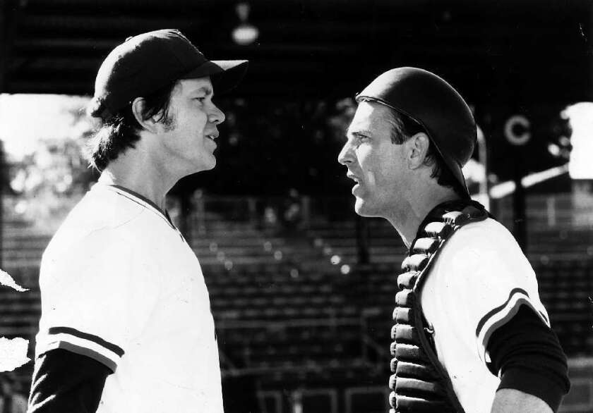 "Tim Robbins, left, and Kevin Costner starred in the movie ""Bull Durham."""
