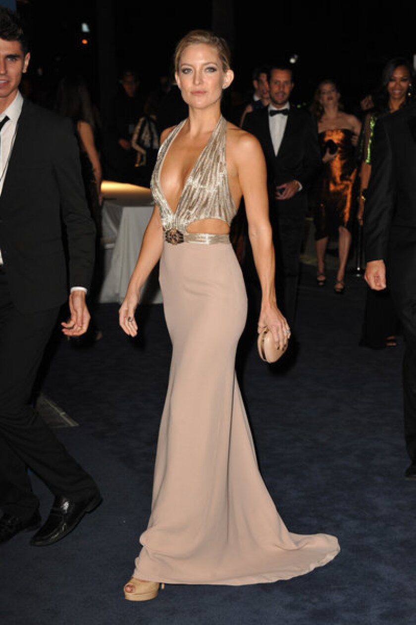 Actress Kate Hudson arrives at the LACMA Art + Film Gala on Saturday wearing a Gucci gown.
