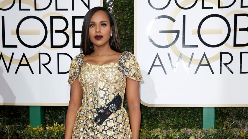 Wearing a Dolce & Gabbana gown, Kerry Washington arrives at the Golden Globe Awards show on Jan. 8.