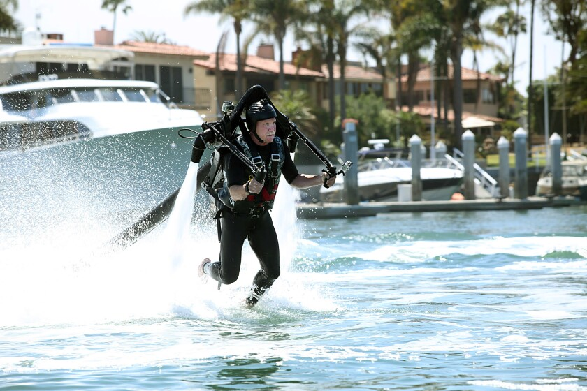 Chris Erskine takes a ride on an H20-powered jet pack flight. Nothing he wouldn't do for a laugh ... or a story.