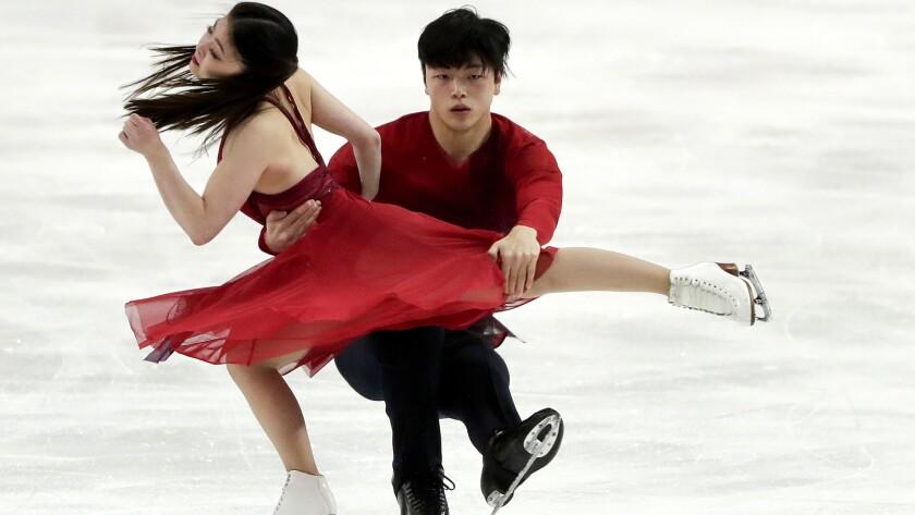 Maia Shibutani and Alex Shibutani, of the United States, perform during the ice dance free dance at