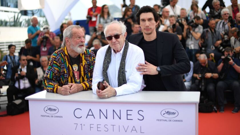 """Director Terry Gilliam and actors Jonathan Pryce and Adam Driver arrive for the Cannes Film Festival premiere of """"The Man Who Killed Don Quixote."""""""