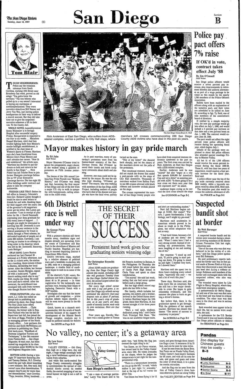 June 14, 1987 Local section front page of The San Diego Union