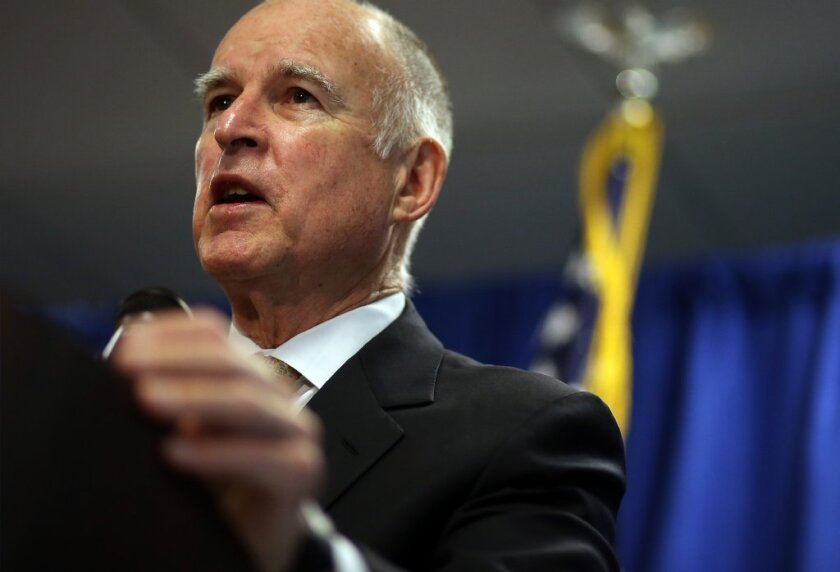 Gov. Jerry Brown speaks at a recent news conference.