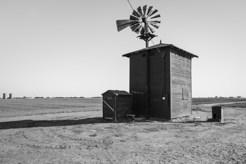 """A photograph of an old pump house at Miller's Rita Ranch featured in the book """"The Dreamt Land,"""" by"""