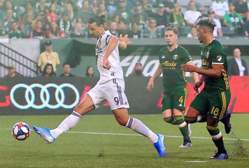 Galaxy forward Zlatan Ibrahimovic kicks the ball against the Portland Timbers.