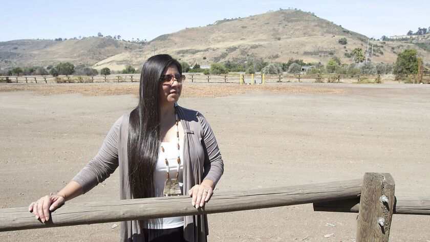 Teresa Romero, chairwoman of the Juaneño Band of Mission Indians, stands near a sacred village site in 2016 where a portion of the new park there will be used for private ceremony and cultural events for the Juaneño Indian community in San Juan Capistrano.