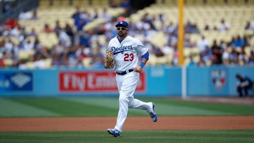 Dodgers first baseman Adrian Gonzalez is seen during the first inning against the Cincinnati Reds on June 11.