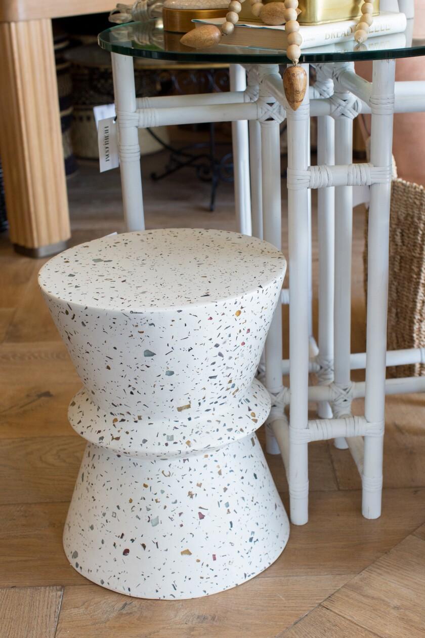 A terrazzo stool at Heirloom.