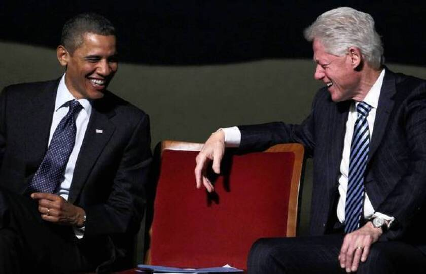 President Obama and former President Clinton have largely put aside bitterness from the 2008 Democratic primary, when Obama defeated former First Lady Hillary Rodham Clinton for the nomination. Clinton is now campaigning for Obama.