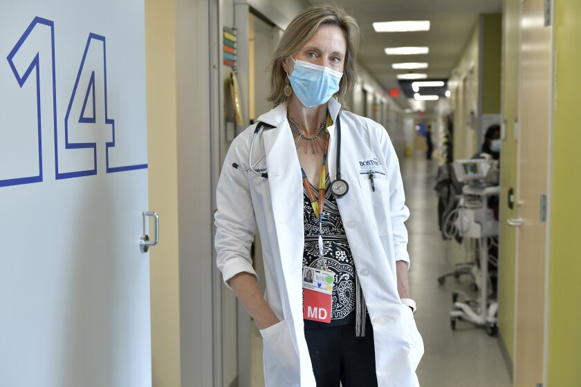 Dr. Katherine Gergen Barnett, Program Director of Family Medicine Residency at Boston Medical Center, Thursday, June 3, 2021. States, such as Massachusetts, with high vaccination rates are reporting plunging COVID-19 cases, multiple days without deaths and health care workers who've gone weeks without treating a patient. (AP Photo/Josh Reynolds)