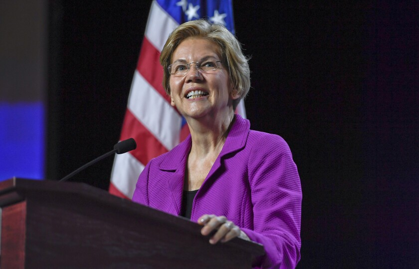Elizabeth Warren speaks Saturday at the 2019 Massachusetts Democratic Party Convention