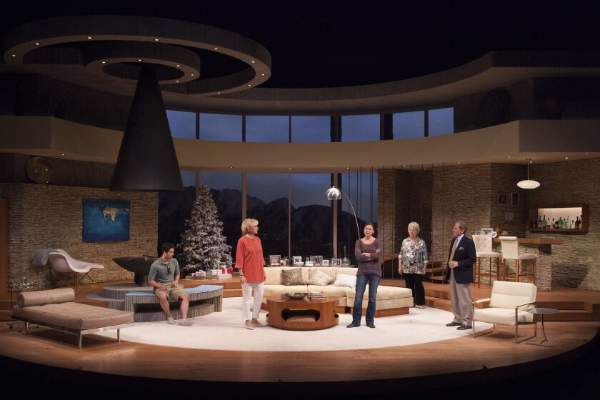 """Andy Bean, Kandis Chappell, Dana Green, Robin Pearson Rose and Robert Foxworth (left to right) in the Old Globe's San Diego premiere of """"Other Desert Cities."""""""