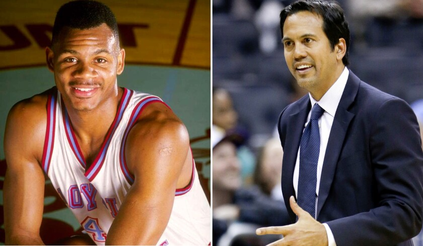 When LMU star Hank Gathers, left, collapsed on the court, Heat Coach Erik Spoelstra was there as a sophomore guard for Portland.