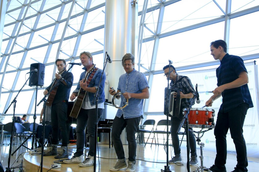 Local rock band Switchfoot, pictured here performing at the San Diego International Airport, received the most nominations for the 2020 San Diego Music Awards.