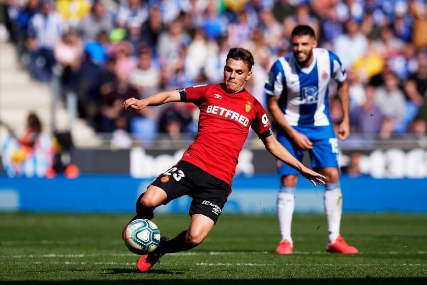 Malorca's Aleix Febas stretches for the ball during a La Liga match against RCD Espanyol on Feb. 9 in Barcelona, Spain.