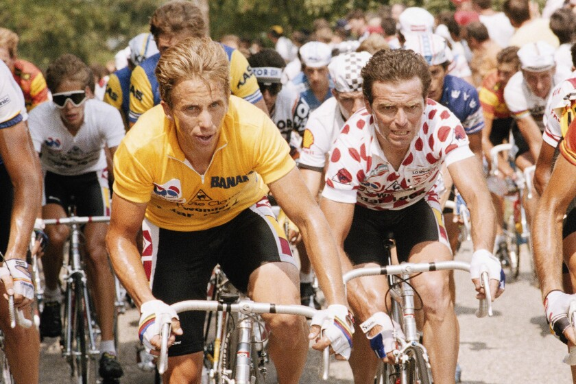 American cyclist Greg LeMond competing in the 1986 Tour de France.