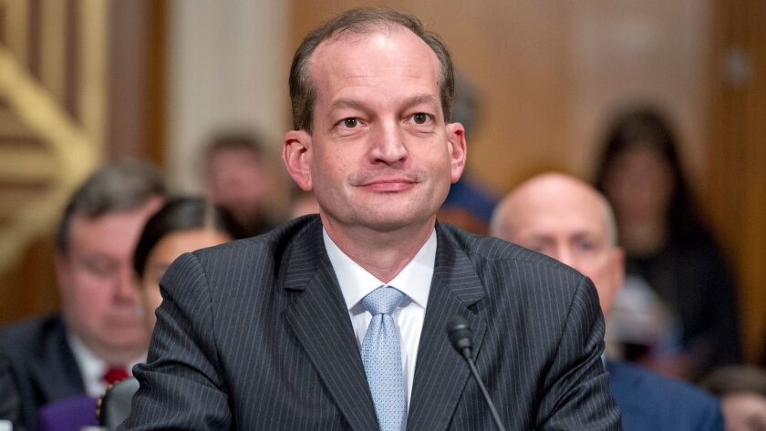 Labor Secretary Alexander Acosta, show in March, is touting public-private apprenticeships that pay salaries as a way to train workers.