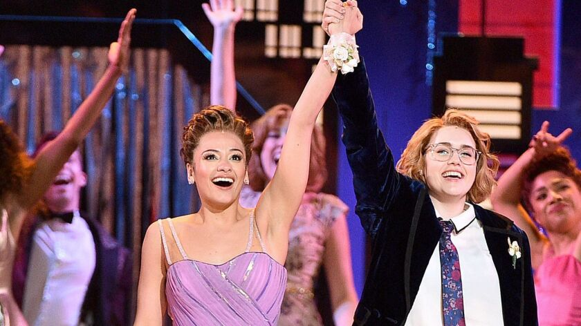 "Isabelle McCalla, left, and Caitlin Kinnunen during a musical number for ""The Prom"" at the 2019 Tony Awards at Radio City Music Hall."