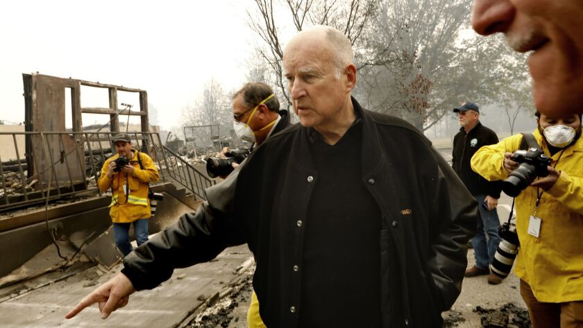 PARADISE, CALIFORNIA--NOV.14, 2018--Governor Jerry Brown stops by to view the damage done to Paradis