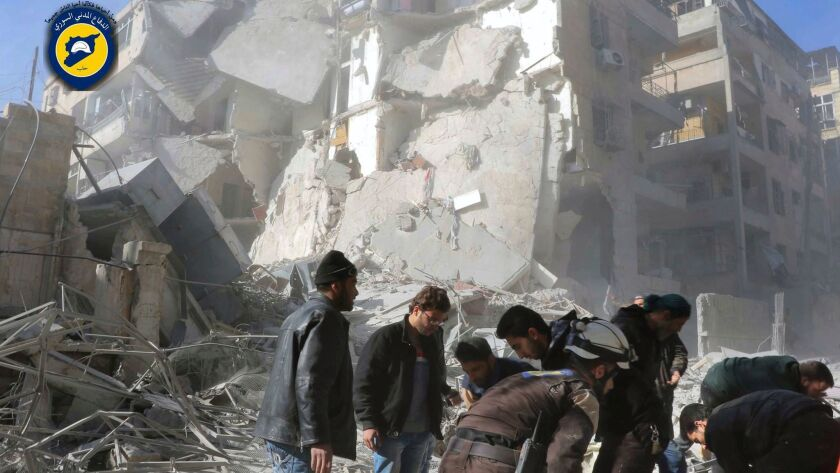 Shattered buildings on a street hit by bombing in Aleppo, Syria, on Saturday.