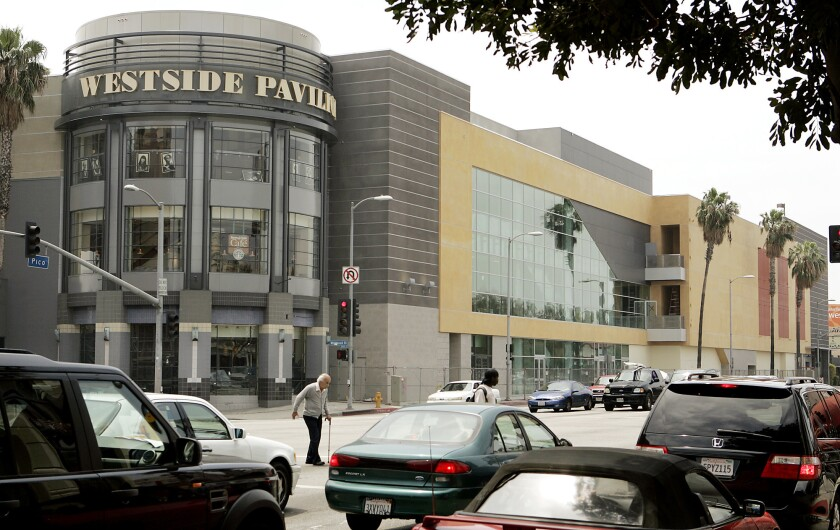 Smoke coming from a sidewalk manhole near Westwood and Pico boulevards led to an evacuation of Landmark Theatres at Westside Pavilion Sunday morning. This photo of the intersection is from 2007.
