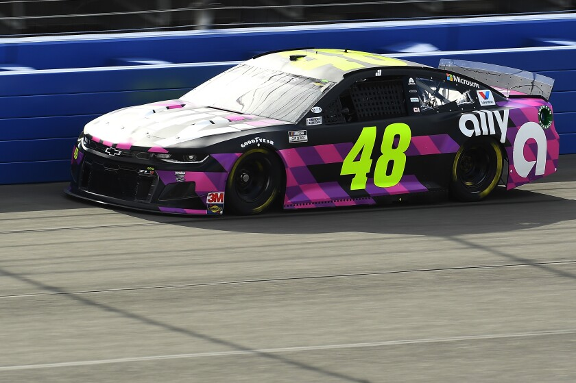 Jimmie Johnson takes part in a practice session at Auto Club Speedway in Fontana on Friday.